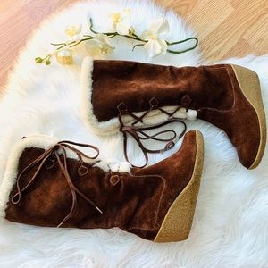 Micheal Kors Shearling Brown Suede Wedge Boots 6.5